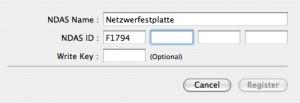 Registrierung der Festplatte im NDAS Treiber (OS-X)